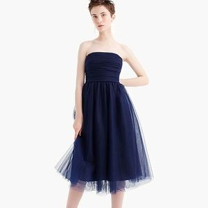 J Crew strapless dress with tulle overlay.